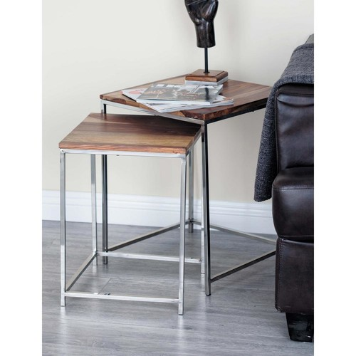 Wood and Stainless Steel Nesting Tables (Set of 3)