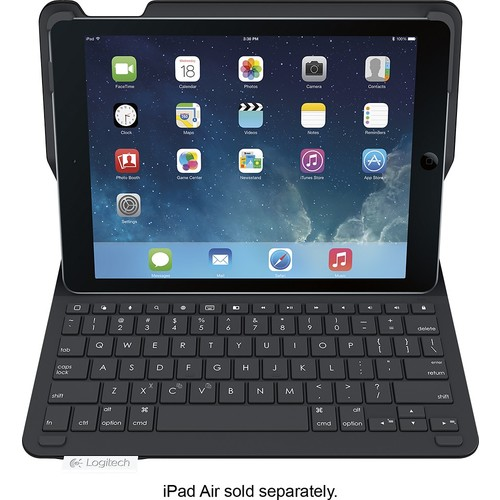Logitech - Type+ Keyboard Case for Apple iPad Air - Carbon Black