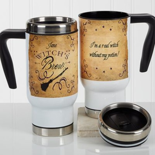 Witch's Brew 14 oz. Travel Mug in White
