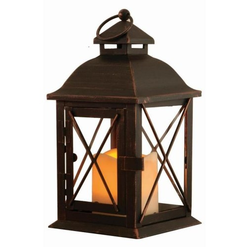 Smart Design Aversa 10 in. Antique Brown LED Lantern with Timer Candle