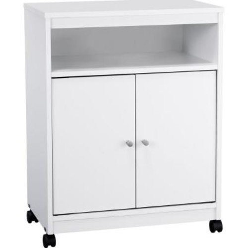 Altra Furniture Landry White Microwave Cart with Storage
