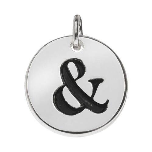 Lead-Free Pewter, Round Symbol Charm Ampersand '&' 13mm, 1 Piece, Silver Plated