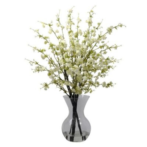Nearly Natural 1315-WH Cherry Blossom Floral Arrangements, White