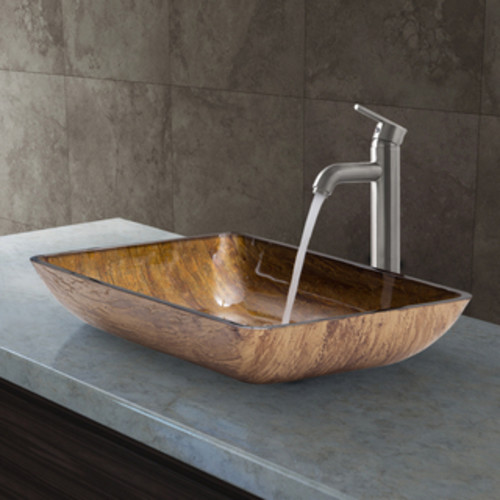 VIGO Amber Sunset Glass Vessel Sink and Olus Wall Mount Faucet Set in Antique Rubbed Bronze
