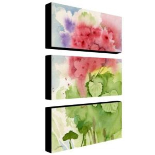 Trademark Fine Art 24 in. x 12 in. Pink Geranium 3-Piece Canvas Art Set