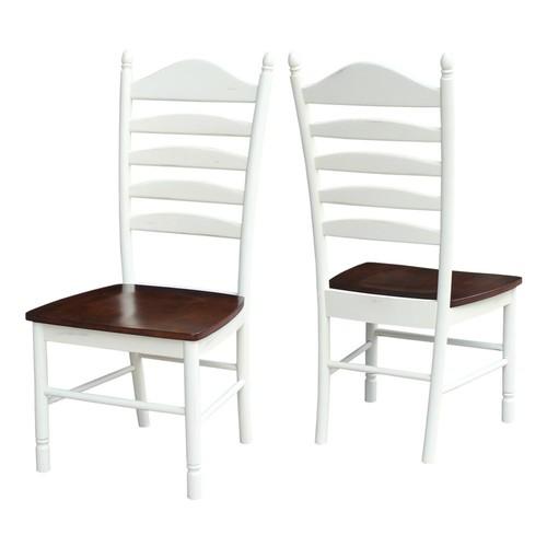 International Concepts Hampton Alabaster and Espresso Wood Ladder Back Dining Chair (Set of 2)