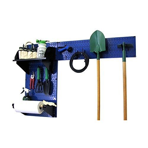 Wall Control 30-GRD-200 BUB Pegboard Garden Supplies Storage and Organization Garden Tool Organizer Kit with Blue Pegboard and Black Accessories [Blue/Black]