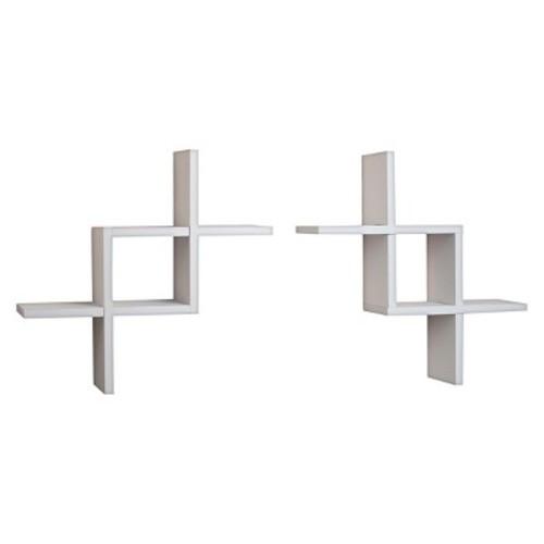 Danya B Reversed Criss Cross Wall Shelf - White
