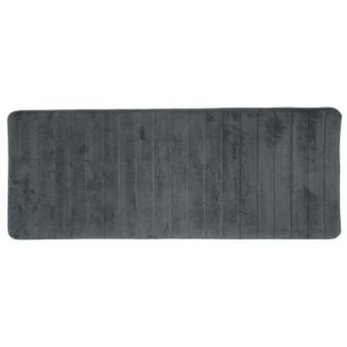 Lavish Home Silver 24.25 in. x 60 in. Memory Foam Striped Extra Long Bath Mat