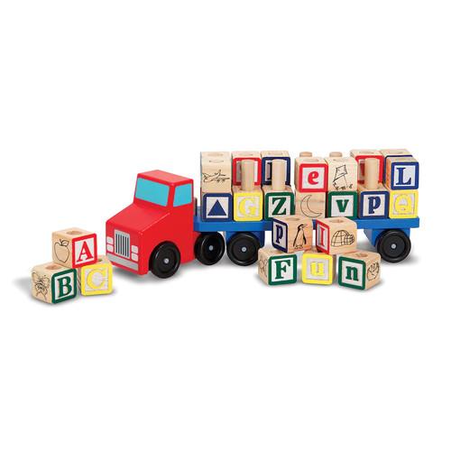 Melissa & Doug Alphabet Blocks Wooden Truck Educational Toy [Standard Version]