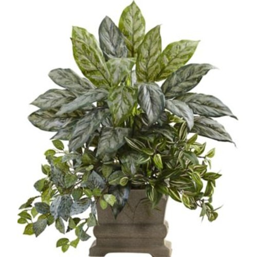 Nearly Natural Mixed Silver Queen, Wandering Jew and Fittonia Desktop Plant in Planter
