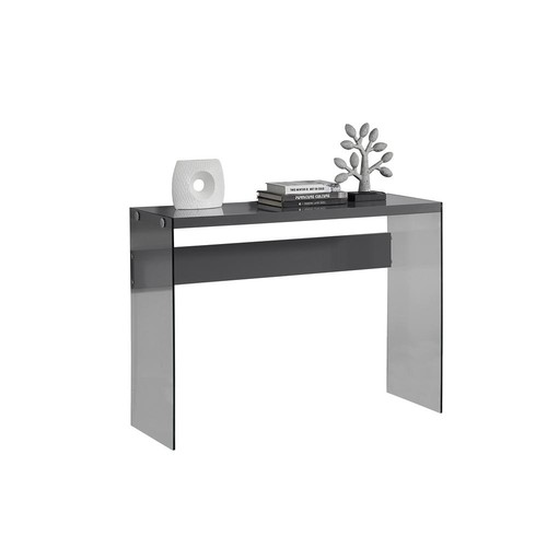 Monarch Specialties Glossy Grey Console Table