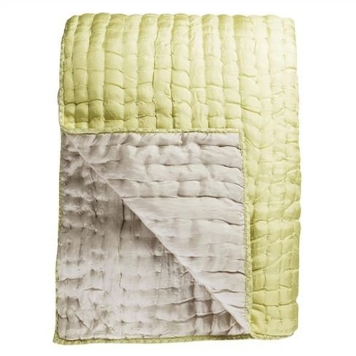 Chenevard Silver and Willow Pure Silk Quilt and Shams design by Designers Guild - Standard Quilt [Chenevard Quilt Shams : Queen Sham]