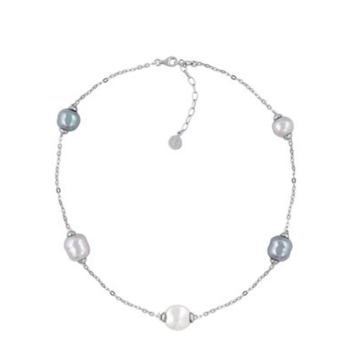 Sterling Silver and Pearl Illusion Necklace