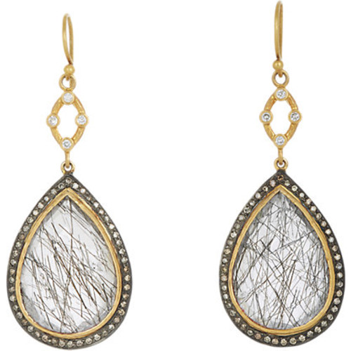 Sara Weinstock Quartz & Grey Diamond Double-Drop Earrings
