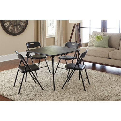 Cosco Home and Office Products 5 Piece Black Folding Table and Chair Set