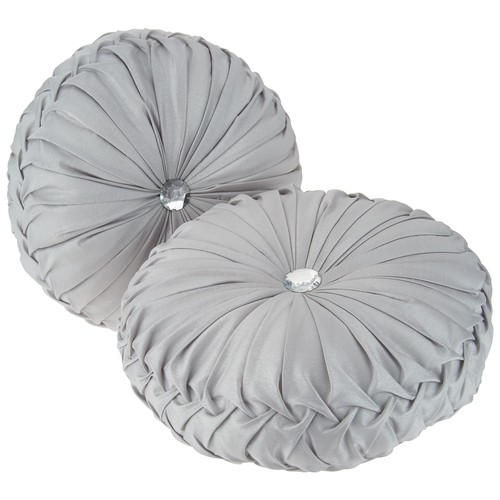 Casa Zeta-Jones Set of 2 Round Ruched Pillows
