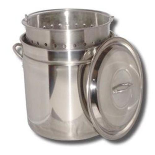 King Kooker King Kooker Stainless Steel Boiling Pot with Steam Rim. Lid u0026 Basket 36 Quart