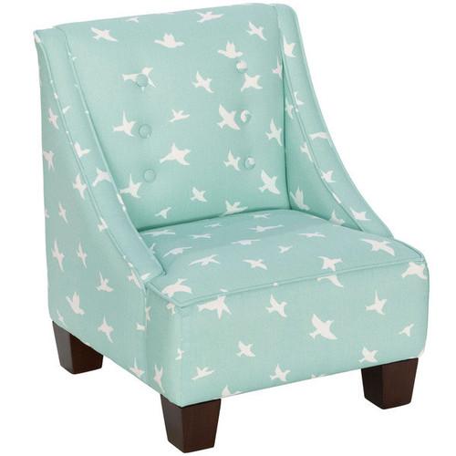 Skyline Furniture Kid's Mid-century Modern Bird Silhouette Fabric Chair [Finish : Orange Finish]
