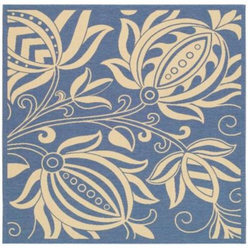 Safavieh Courtyard Blue/Natural 7 ft. 10 in. x 7 ft. 10 in. Indoor/Outdoor Square Area Rug