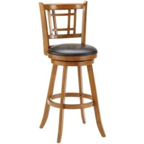 Hillsdale Furniture Fairfox 30.5 in. Warm Medium Oak Swivel Cushioned Bar Stool