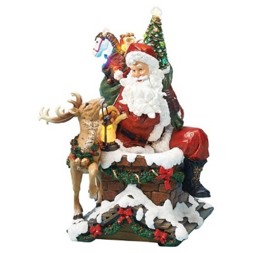 Lit LED Santa on Chimney Decorative Figurine