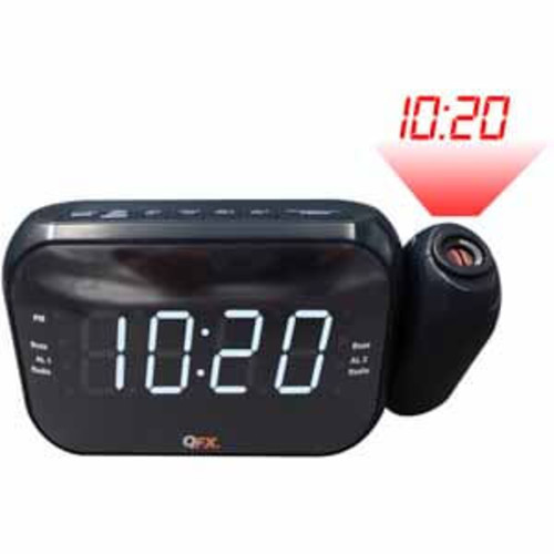 QFX AM/FM LED Dual Projection Alarm Clock - Black
