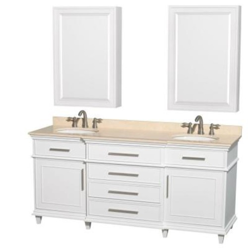 Wyndham Collection Berkeley 72 in. Double Vanity in White with Marble Vanity Top in Ivory, Undermount Round Sinks and Medicine Cabinets