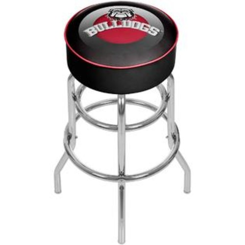 TRADEMARK GLOBAL GEORGIA BULLDOGS HONEYCOMB CHROME PADDED SWIVEL BAR STOOL