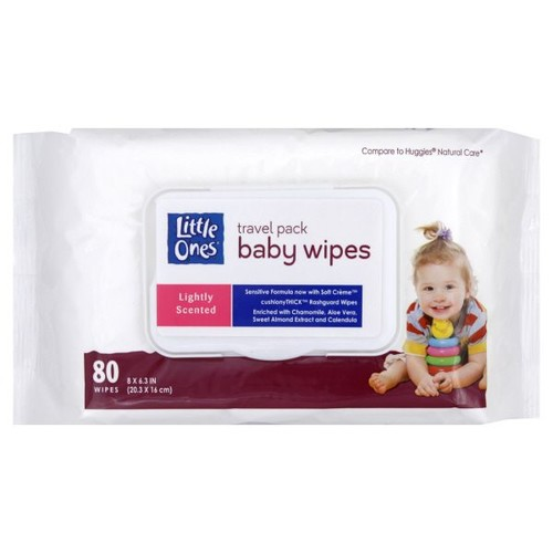 Little Ones Travel Pack Baby Wipes, Lightly Scented, 80 wipes