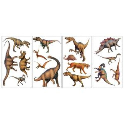 10 in. x 18 in. Dinosaurs 16-Piece Peel and Stick Wall Decals