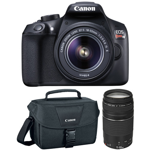 Canon 1159C008-kit-100123 EOS Rebel T6 Wi-Fi Camera + EF-S 18-55 IS II Lens + 75-300 Lens + 32GB Card + Case + Flash + Battery +