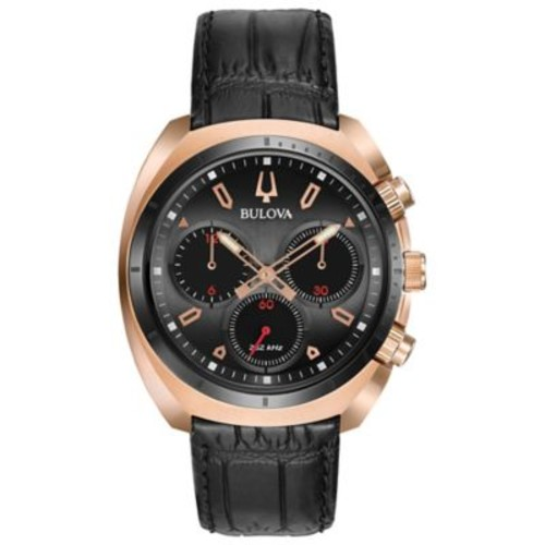 Bulova Men's 43mm Curv Chronograph Watch in Rose Goldtone Stainless Steel with Black Leather Strap