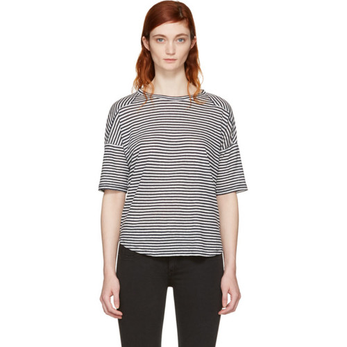 RAG & BONE White & Navy Striped Valley T-Shirt