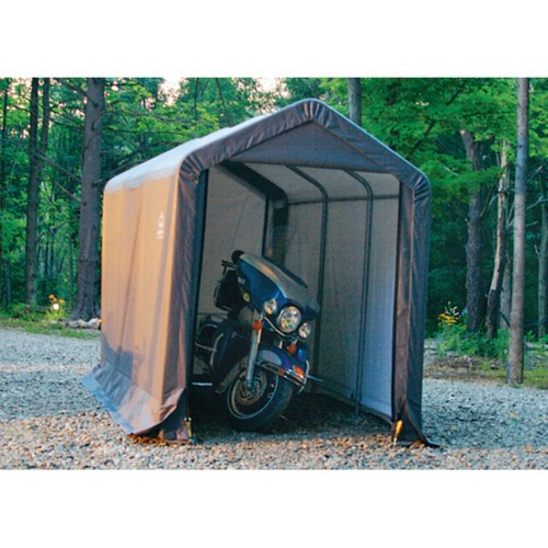 ShelterLogic Shed-in-a-Box with Auger Anchors, Peak, Gray [6 x 12-Feet]