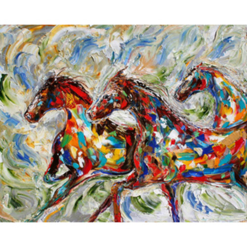 'Horse Riders' Oil on Canvas Art