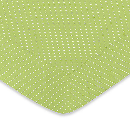Sweet Jojo Designs Hooty Fitted Crib Sheet in Lime Mini Dot