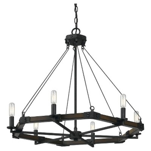 Cal Lighting FX-3533/6 6 Light Black Smith Metal / Resin Chandelier
