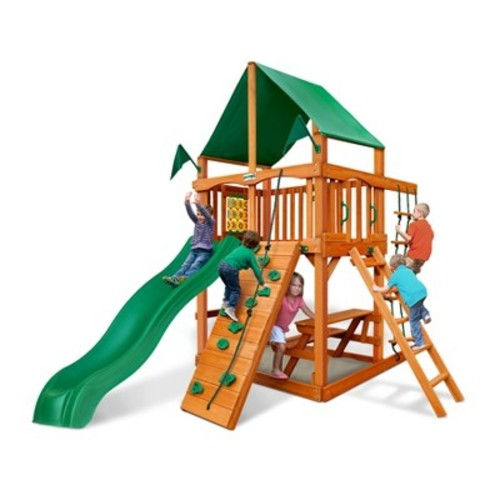 Gorilla Playsets Chateau Tower with Amber and Deluxe Green Vinyl Canopy