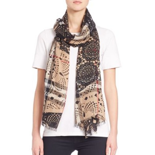 BURBERRY Lace Patchwork Wool & Silk Gauze Scarf
