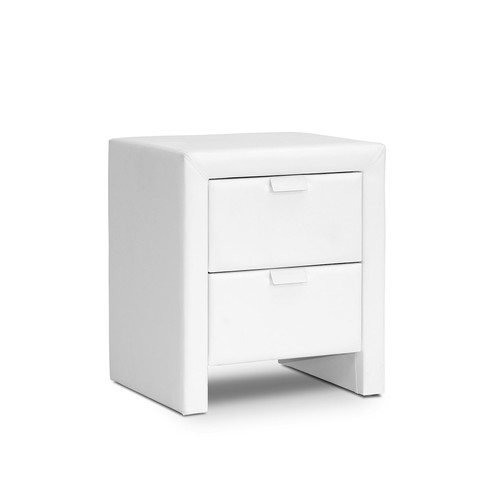 Frey White Upholstered Modern Nightstand by Design Studios