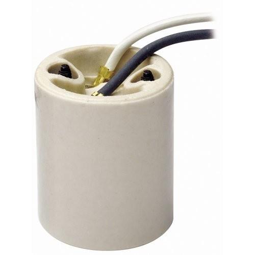 Leviton 10085-5 Medium Base, One-Piece, Keyless, Incandescent, Glazed Porcelain Lampholder, Mounting Bushings, Single Circuit, White