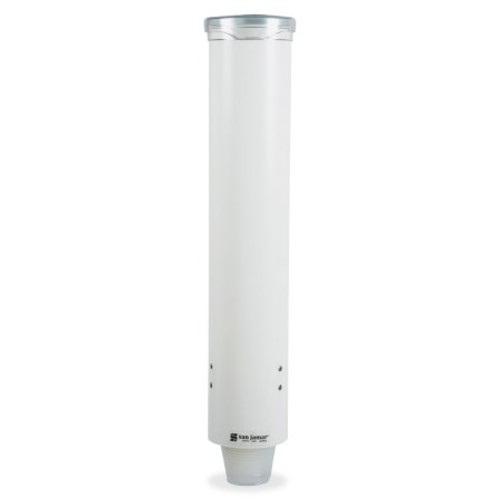 San Jamar C4160WH Small Pull-Type Water Cup Dispenser, Fits 3 to 4-1/2 oz Cone Cups and 3 to 5 oz Flat Bottom Cups, White