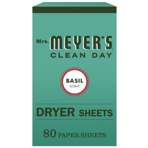Mrs. Meyer's Clean Day Dryer Sheets, Basil, 80-Count Boxes (Pack of 3)