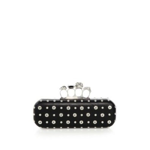 ALEXANDER MCQUEEN Studded Leather Knuckle Long Box Clutch