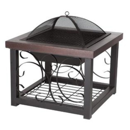 Well Traveled Living Fire Sense Cocktail Table Fire Pit, Hammer Tone Bronze Finish