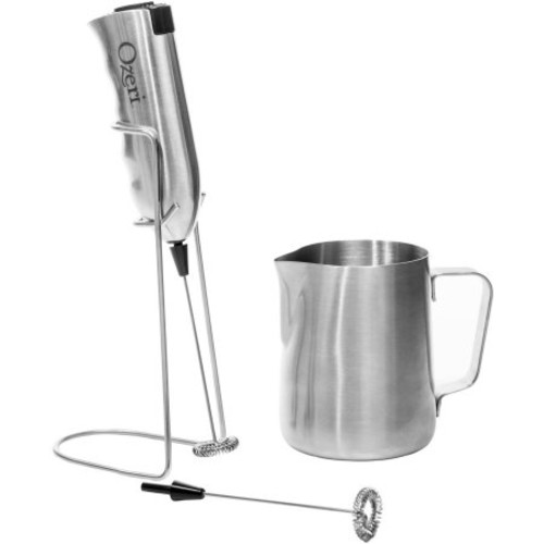 Ozeri Deluxe Milk Frother and 12 oz Frothing Pitcher in Stainless Steel