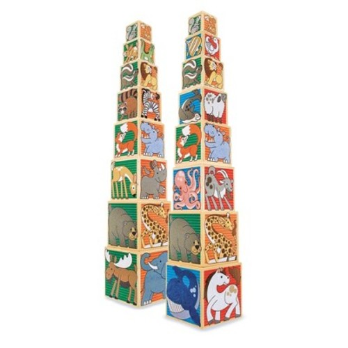 Melissa & Doug Wooden Animal Nesting Blocks - 8 Blocks Stack to Almost 3 Feet Tall