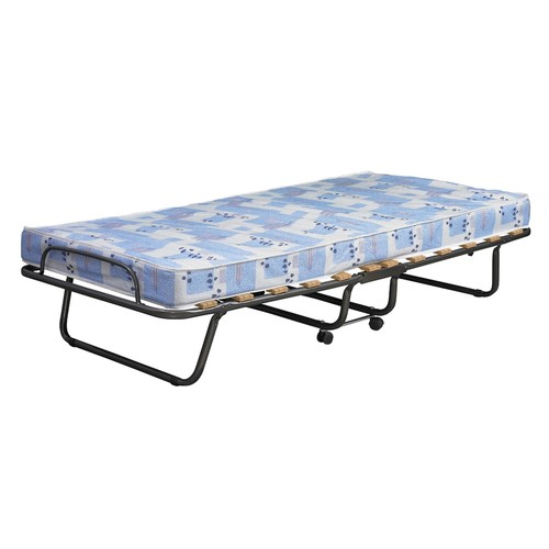 Linon Roma Folding Bed, Steel Frame and Mattress, Blue and White
