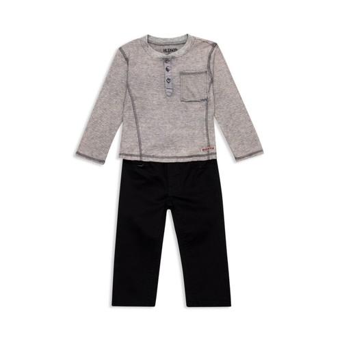 Boys' Striped Henley & Twill Pants Set - Little Kid